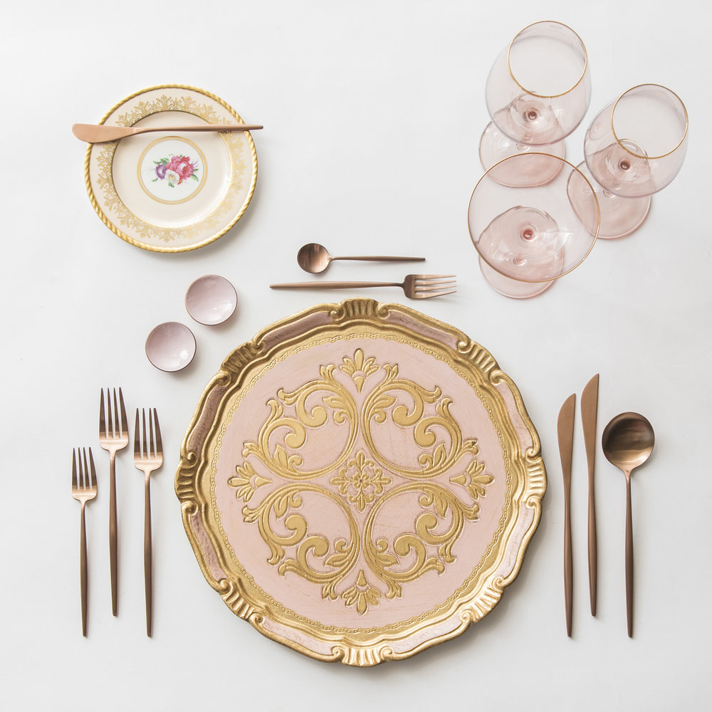 RENT: Florentine Chargers in Light Pink/Gold + Pink Botanicals Vintage China + Moon Flatware in Brushed Rose Gold + Bella 24k Gold Rimmed Stemware in Blush + Pink Enamel Salt Cellars   SHOP: Florentine Chargers in Light Pink/Gold + Moon Flatware in Brushed Rose Gold + Bella 24k Gold Rimmed Stemware in Blush + Pink Enamel Salt Cellars