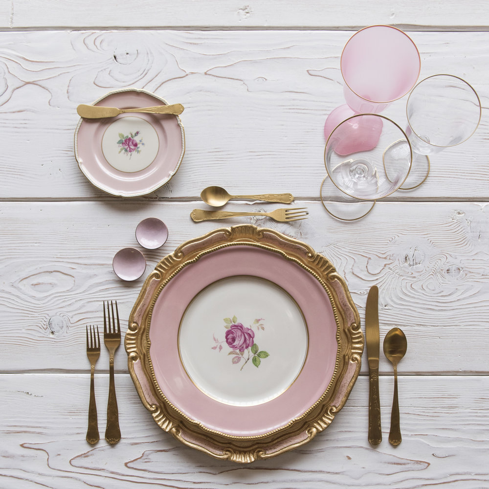 RENT: Florentine Chargers in Light Pink/Gold + Pink Botanicals Vintage China + Chateau Flatware in Matte Gold + Chloe 24k Gold Rimmed Stemware + Chloe 24k Gold Rimmed Goblet in Pink + Pink Enamel Salt Cellars + Tiny Gold Spoons   SHOP: Florentine Chargers in Light Pink/Gold + Chloe 24k Gold Rimmed Stemware + Pink Enamel Salt Cellars + Tiny Gold Spoons