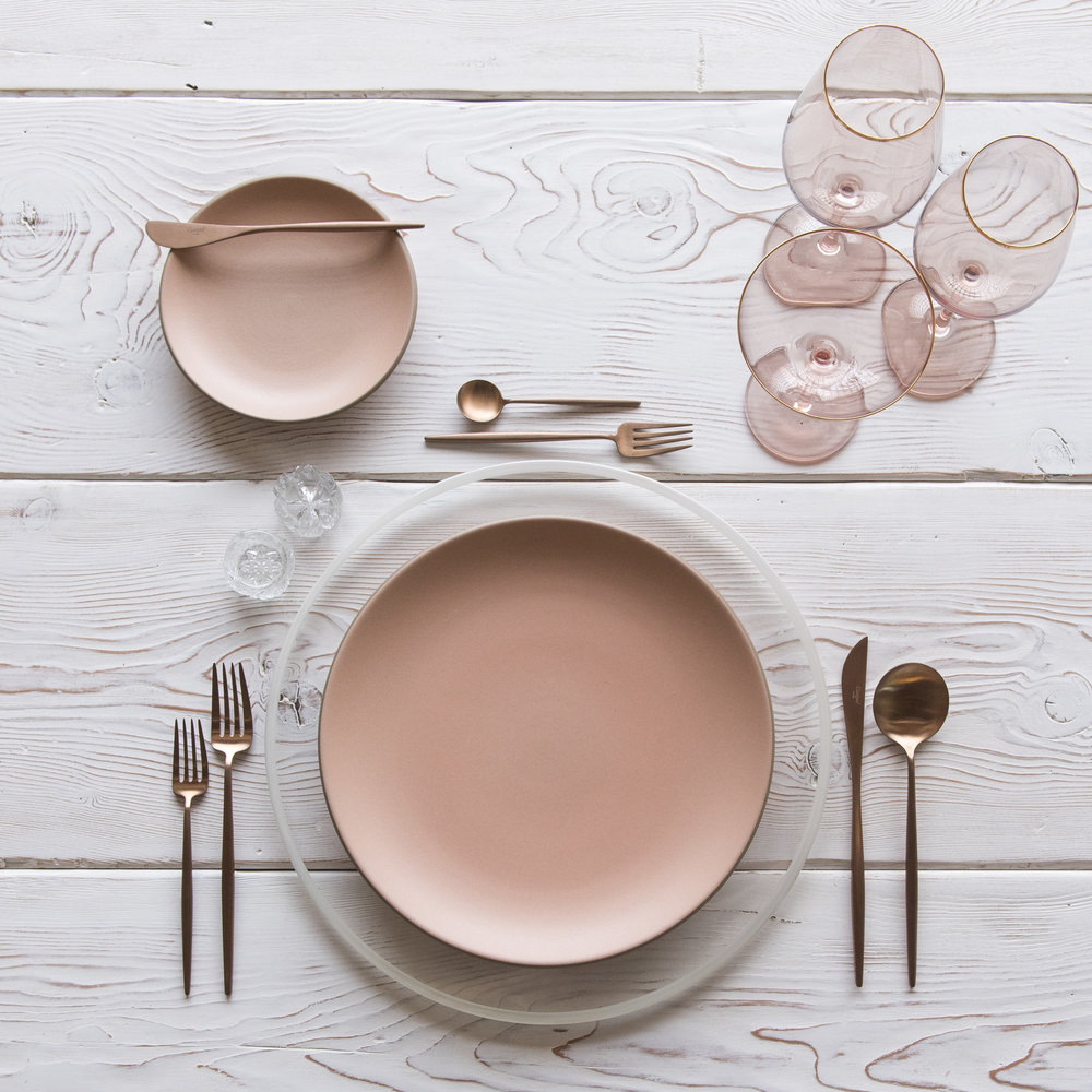 RENT: Halo Glass Chargers in Pearl + Custom Heath Ceramics in Sunrise + Moon Flatware in Brushed Rose Gold + Bella 24k Gold Rimmed Stemware in Blush + Antique Crystal Salt Cellars   SHOP: Halo Glass Chargers in Pearl + Moon Flatware in Brushed Rose Gold + Bella 24k Gold Rimmed Stemware in Blush