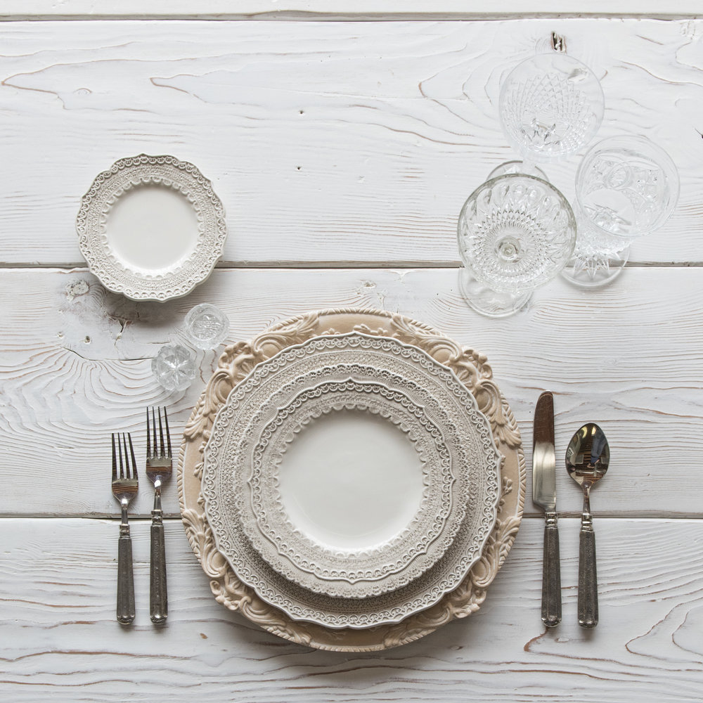RENT: Verona Chargers in Terracotta + Lace Dinnerware in White + Tuscan Flatware in Pewter + Vintage Cut Crystal Goblets + Early American Pressed Glass Goblets + Antique Crystal Salt Cellars  SHOP: Verona Chargers in Terracotta