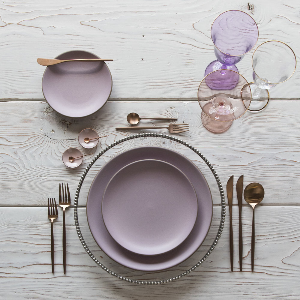 RENT: Pav é  Glass Chargers in Pewter + Custom Heath Ceramics in Wildflower + Moon Flatware in Brushed Rose Gold + Chloe 24k Gold Rimmed Stemware + Chloe 24k Gold Rimmed Goblet in Lilac + Bella 24k Gold Rimmed Stemware + Pink Enamel Salt Cellars + Tiny Copper Spoons   SHOP: Moon Flatware in Brushed Rose Gold + Chloe 24k Gold Rimmed Stemware + Bella 24k Gold Rimmed Stemware + Pink Enamel Salt Cellars + Tiny Copper Spoons
