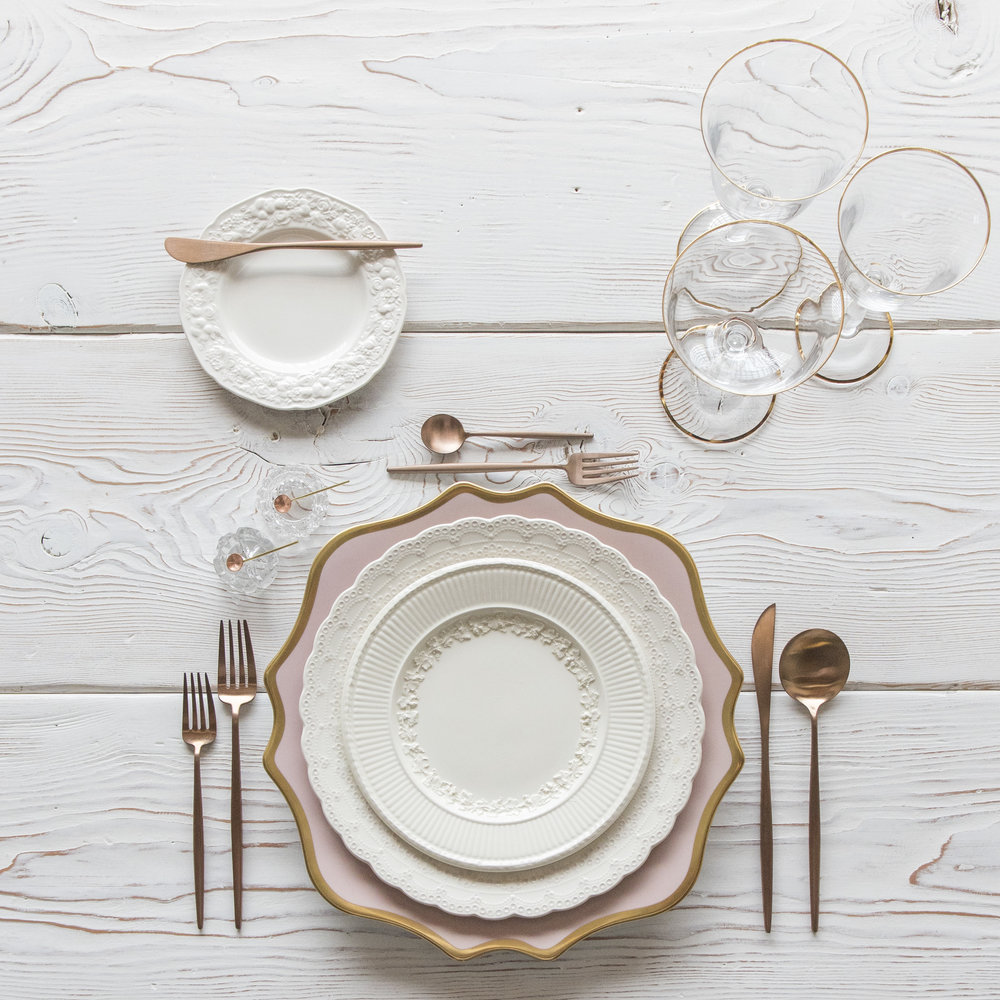 RENT: Anna Weatherley Chargers in Desert Rose/Gold + White Collection Vintage China + Moon Flatware in Brushed Rose Gold + Chloe 24k Gold Rimmed Stemware + Bella 24k Gold Rimmed Stemware + Antique Crystal Salt Cellars + Tiny Gold/Copper Spoons  SHOP: Moon Flatware in Brushed Rose Gold + Chloe 24k Gold Rimmed Stemware + Bella 24k Gold Rimmed Stemware