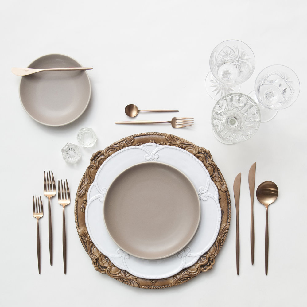 RENT Verona Chargers in Walnut + Signature Collection Dinnerware + Heath Ceramics in French Grey & Rose Gold | Copper u2014 Casa de Perrin