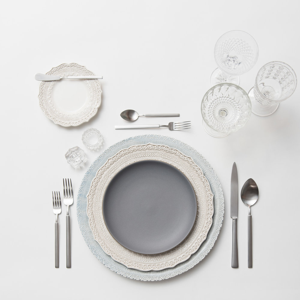 RENT: Lace Chargers in Dusty Blue + Lace Dinnerware in White + Heath Ceramics in Indigo/Slate + Axel Flatware in Matte Silver + Vintage Cut Crystal Goblets + Vintage Champagne Coupes + Antique Crystal Salt Cellars