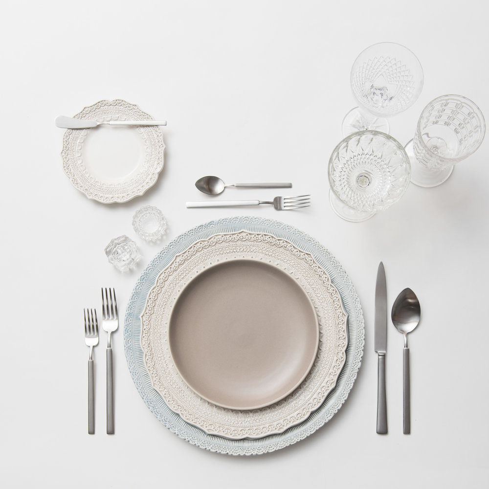 RENT: Lace Chargers in Dusty Blue + Lace Dinnerware in White + Heath Ceramics in French Grey + Axel Flatware in Matte Silver + Vintage Cut Crystal Goblets + Vintage Champagne Coupes + Antique Crystal Salt Cellars