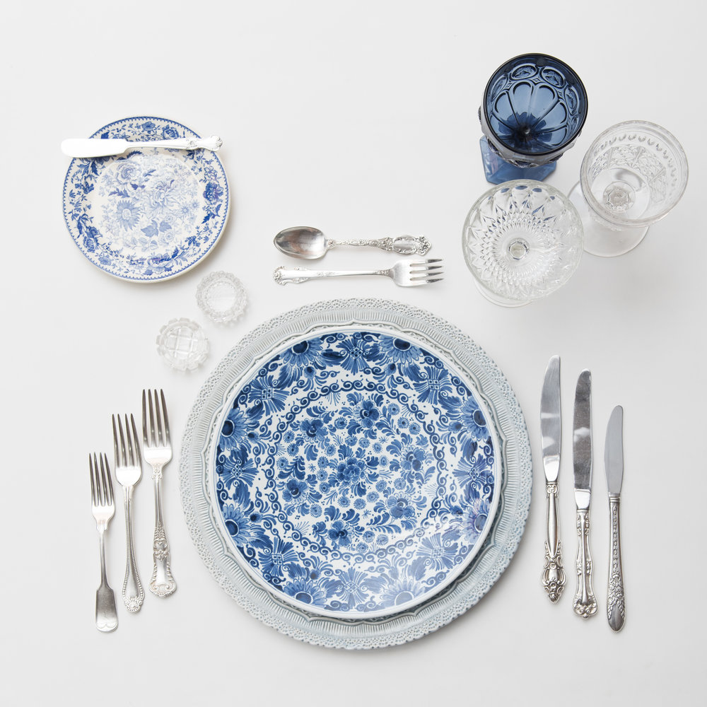 RENT: Lace Chargers in Dusty Blue + Blue Garden Collection Vintage China + Antique Silver Flatware + Dark Blue Vintage Goblets + Early American Pressed Glass Goblets + Vintage Champagne Coupes + Antique Crystal Salt Cellars