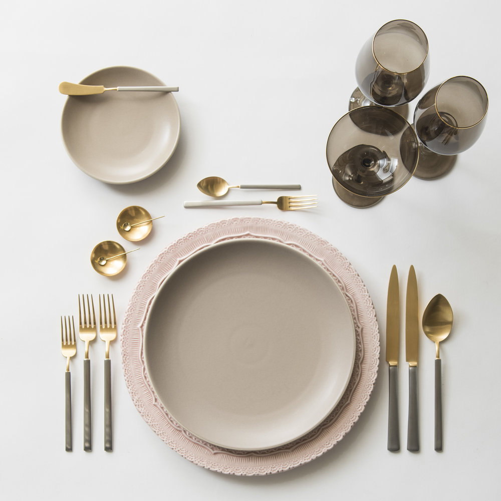 RENT: Lace Chargers in Blush + Heath Ceramics in French Grey + Axel Flatware in Matte 24k Gold/Silver + Bella 24k Gold Rimmed Stemware in Smoke + 14k Gold Salt Cellars + Tiny Gold Spoons   SHOP:  Bella 24k Gold Rimmed Stemware in Smoke + 14k Gold Salt Cellars + Tiny Gold Spoons