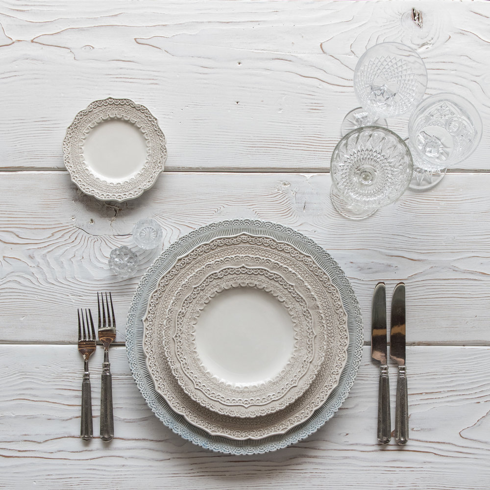 RENT: Lace Chargers in Dusty Blue + Lace Dinnerware in White + Tuscan Flatware in Pewter + Vintage Cut Crystal Goblets + Early American Pressed Glass Goblets + Antique Crystal Salt Cellars