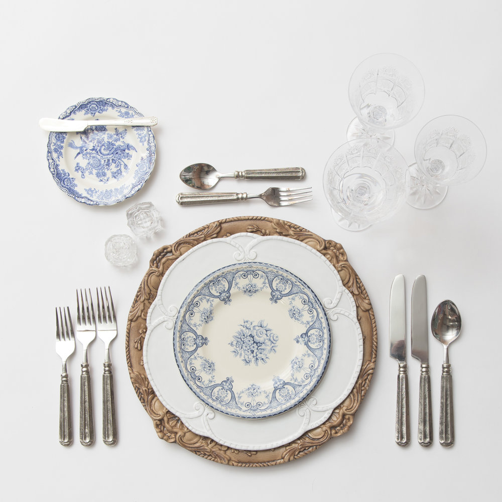 RENT: Verona Chargers in Walnut + Signature Collection Dinnerware + Blue Garden Collection Vintage China + Tuscan Flatware in Pewter + Czech Crystal Stemware + Antique Crystal Salt Cellars   SHOP: Verona Chargers in Walnut