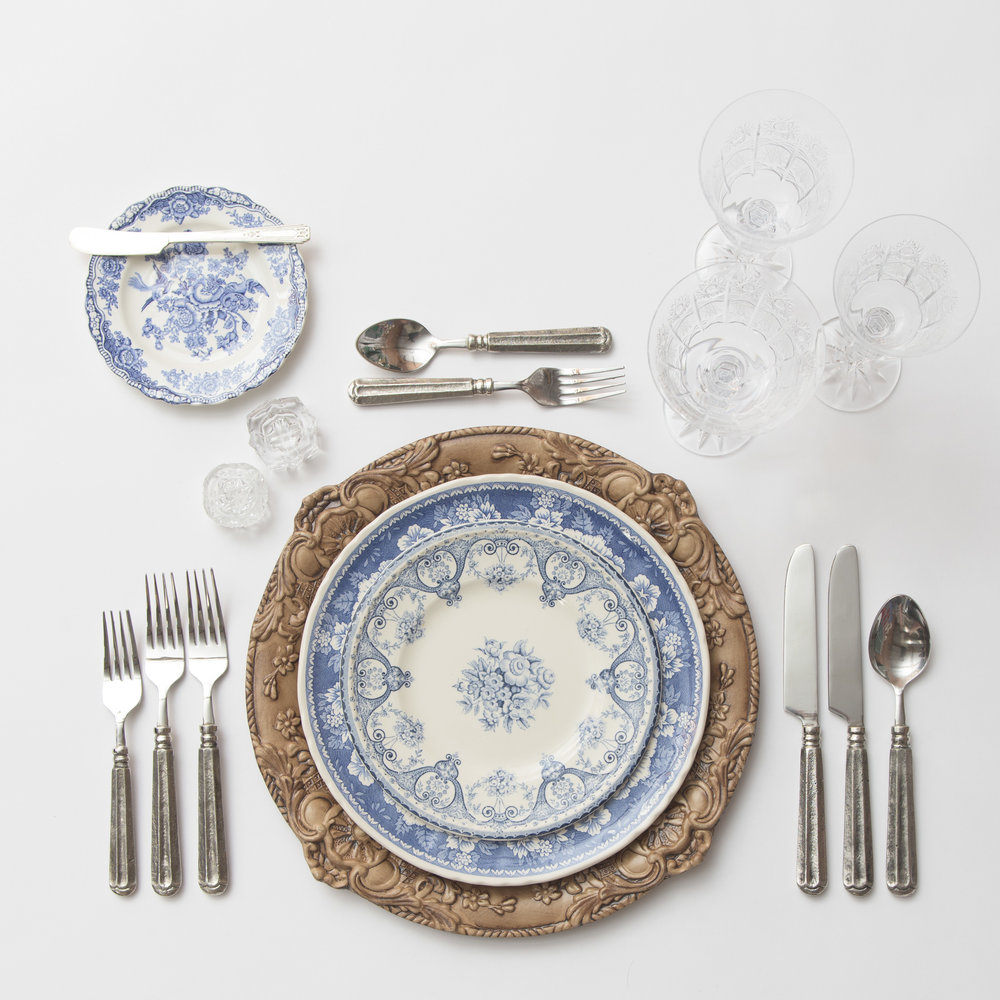 RENT: Verona Chargers in Walnut + Blue Garden Collection Vintage China + Tuscan Flatware in Pewter + Czech Crystal Stemware + Antique Crystal Salt Cellars   SHOP: Verona Chargers in Walnut