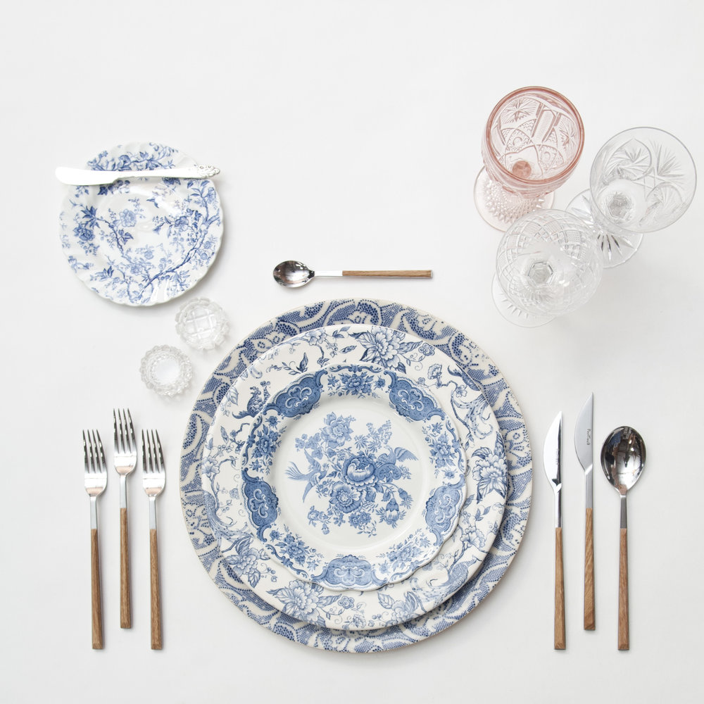 RENT: Blue Fleur de Lis Chargers + Blue Garden Collection Vintage China + Danish Flatware in Teak + Pink Vintage Goblets + Vintage Cut Crystal Goblets + Vintage Champagne Coupes + Antique Crystal Salt Cellars