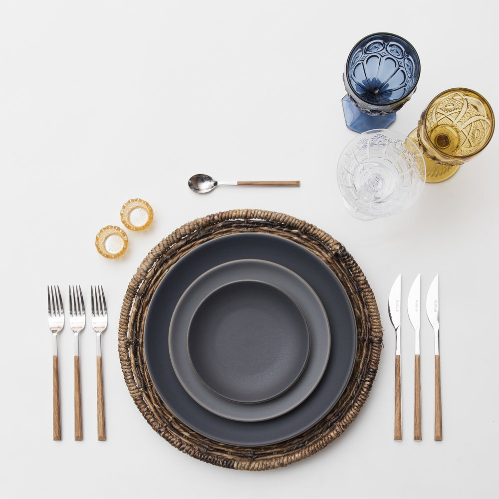RENT: Natural Woven Chargers + Heath Ceramics in Indigo/Slate + Danish Flatware in Teak + Dark Blue/Amber Vintage Goblets + Czech Crystal Stemware + Amber Crystal Salt Cellars