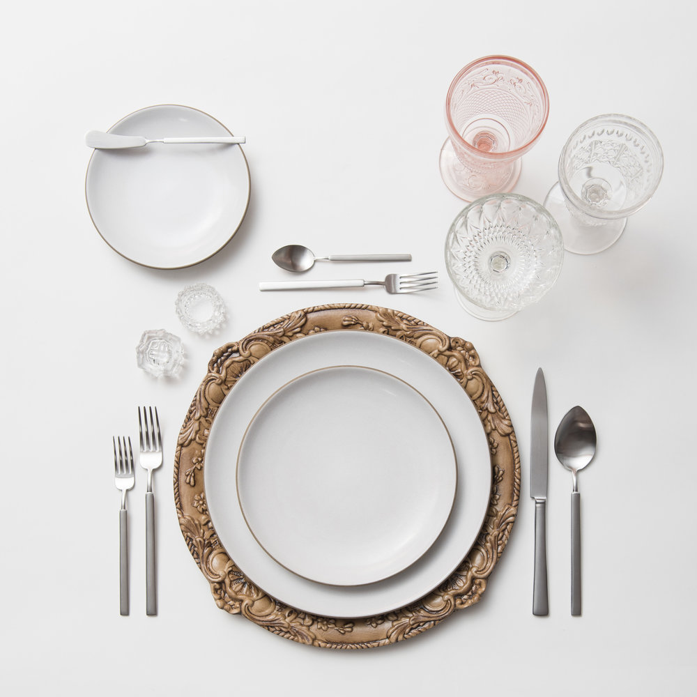 RENT: Verona Chargers in Walnut + Heath Ceramics in Opaque White + Axel Flatware in Matte Silver + Pink Vintage Goblets + Early American Pressed Glass Goblets + Vintage Champagne Coupes + Antique Crystal Salt Cellars   SHOP: Verona Chargers in Walnut