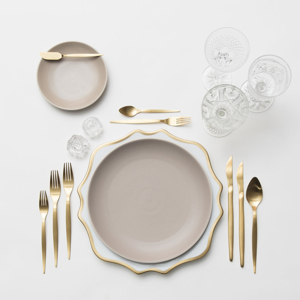 RENT: Anna Weatherley Chargers in White/Gold + Heath Ceramics in French Grey + Celeste Flatware in Matte Gold + Vintage Cut Crystal Goblets + Early American Pressed Glass Goblets + Vintage Champagne Coupes + Antique Crystal Salt Cellars  SHOP: Anna Weatherley Chargers in White/Gold