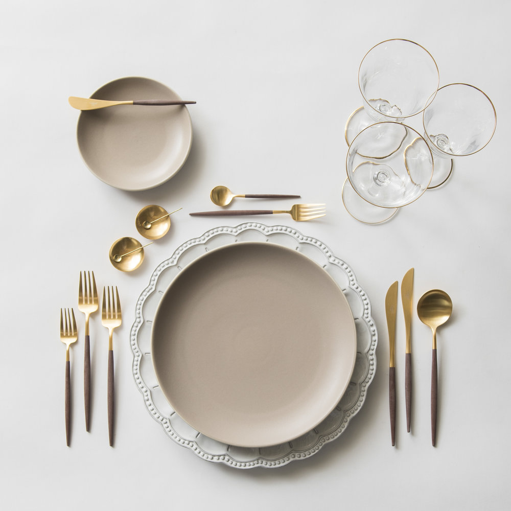 RENT: Signature Collection Chargers + Heath Ceramics in French Grey + Goa Flatware in Brushed 24k Gold/Wood + Chloe 24k Gold Rimmed Stemware + 14k Gold Salt Cellars + Tiny Gold Spoons  SHOP: Goa Flatware in Brushed 24k Gold/Wood + Chloe 24k Gold Rimmed Stemware + 14k Gold Salt Cellars + Tiny Gold Spoons