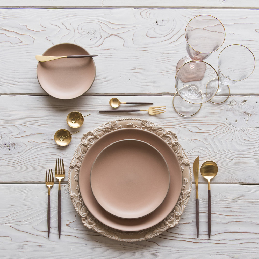 RENT: Verona Chargers in Terracotta + Custom Heath Ceramics in Sunrise + Goa Flatware in Brushed 24k Gold/Wood + Chloe 24k Gold Rimmed Stemware + Chloe 24k Gold Rimmed Goblet in Blush + 14k Gold Salt Cellars + Tiny Gold Spoons   SHOP: Verona Chargers in Terracotta + Goa Flatware in Brushed 24k Gold/Wood + Chloe 24k Gold Rimmed Stemware + 14k Gold Salt Cellars + Tiny Gold Spoons