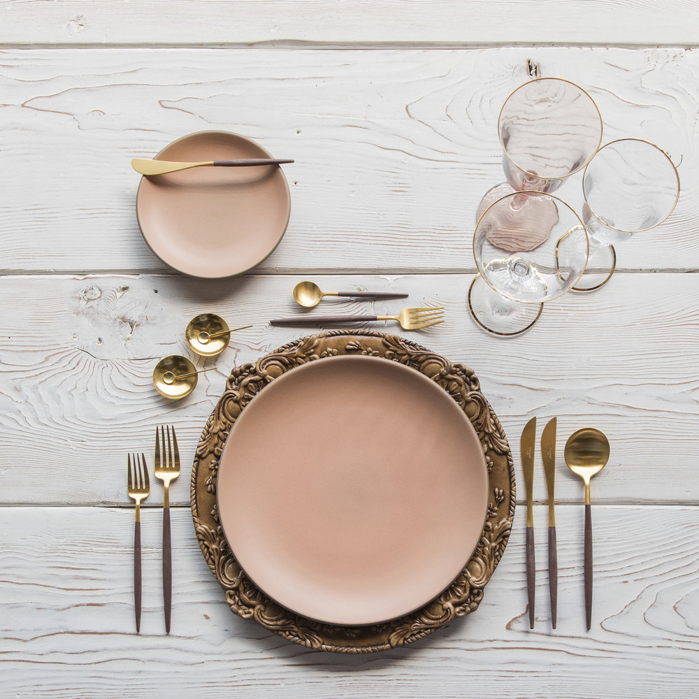 RENT: Verona Chargers in Walnut + Custom Heath Ceramics in Sunrise + Goa Flatware in Brushed 24k Gold/Wood + Chloe 24k Gold Rimmed Stemware + Chloe 24k Gold Rimmed Goblet in Blush + 14k Gold Salt Cellars + Tiny Gold Spoons  SHOP: Verona Chargers in Walnut + Goa Flatware in Brushed 24k Gold/Wood + Chloe 24k Gold Rimmed Stemware + 14k Gold Salt Cellars + Tiny Gold Spoons