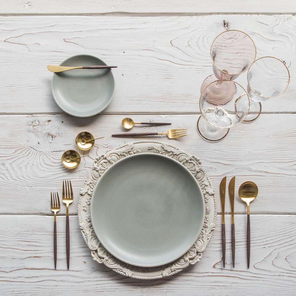 RENT: Verona Chargers in Antique White + Heath Ceramics in Mist + Goa Flatware in Brushed 24k Gold/Wood + Chloe 24k Gold Rimmed Stemware + Chloe 24k Gold Rimmed Goblet in Blush + 14k Gold Salt Cellars + Tiny Gold Spoons  SHOP: Verona Chargers in Antique White + Goa Flatware in Brushed 24k Gold/Wood + Chloe 24k Gold Rimmed Stemware + 14k Gold Salt Cellars + Tiny Gold Spoons