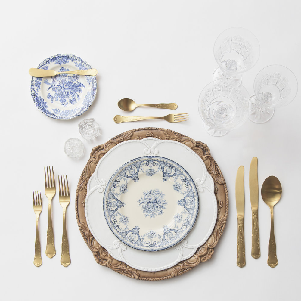 RENT: Verona Charger in Walnut + Signature Collection Dinnerware + Blue Garden Collection Vintage China + Chateau Flatware in Matte Gold + Czech Crystal Stemware + Antique Crystal Salt Cellars   SHOP: Verona Charger in Walnut