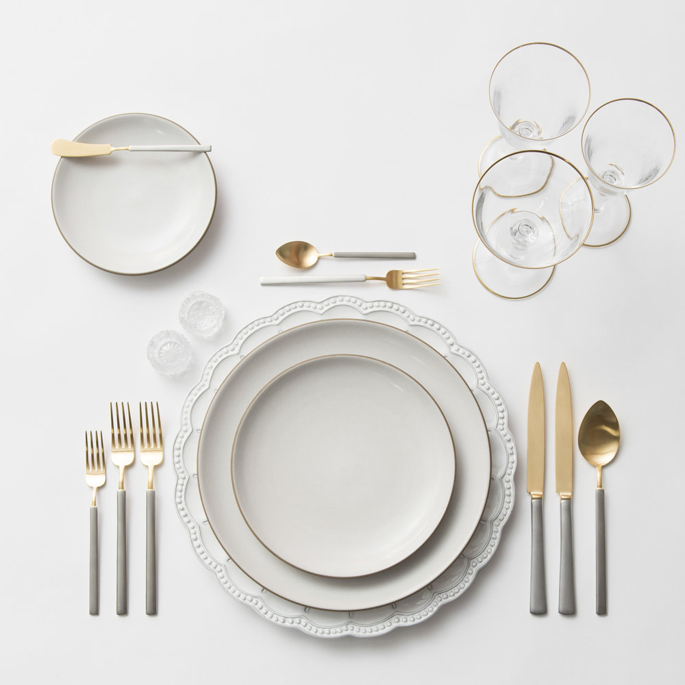 RENT: Signature Collection Chargers + Heath Ceramics in Opaque White + Axel Flatware in Matte 24k Gold/Silver + Chloe 24k Gold Rimmed Stemware + Antique Crystal Salt Cellars   SHOP: Chloe 24k Gold Rimmed Stemware