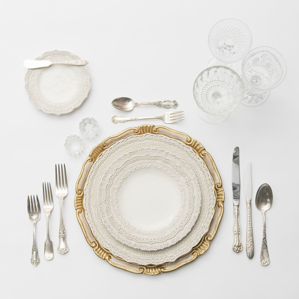 RENT: Florentine Chargers in White/Gold + Lace Dinnerware in White + Antique Silver Flatware + Vintage Cut Crystal Goblets + Early American Pressed Glass Goblets + Vintage Champagne Coupes + Antique Crystal Salt Cellars  SHOP: Florentine Chargers in White/Gold + Lace Dinnerware in White