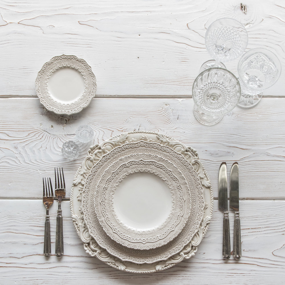 RENT: Verona Chargers in Antique White + Lace Dinnerware in White + Tuscan Flatware in Pewter + Vintage Cut Crystal Goblets + Early American Pressed Glass Goblets + Vintage Champagne Coupes + Antique Crystal Salt Cellars   SHOP: Verona Chargers in Antique White