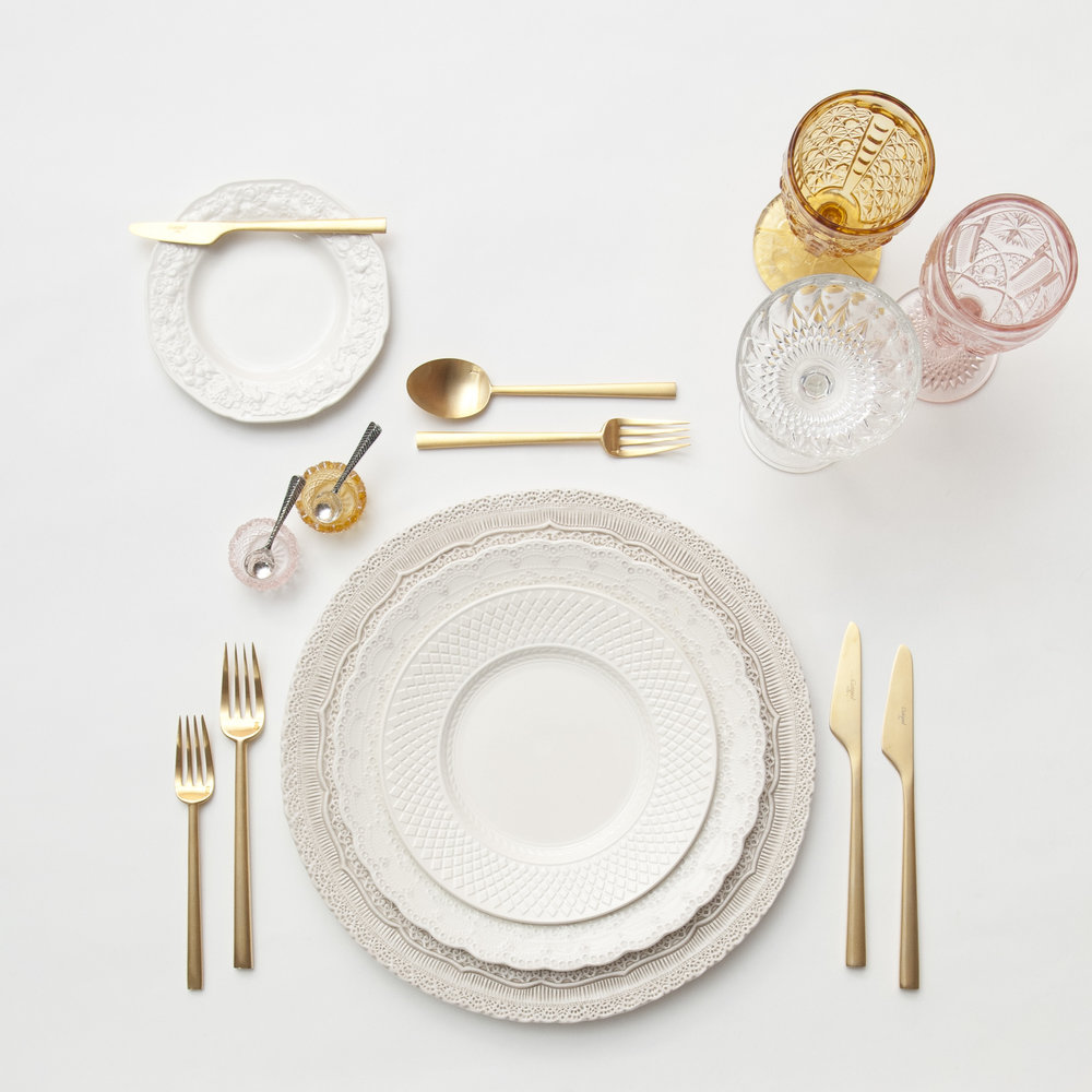 RENT: Lace Chargers in White + White Collection Vintage China + Rondo Flatware in Brushed 24k Gold + Amber/Pink Vintage Goblets + Vintage Champagne Coupes + Amber/Pink Salt Cellars + Tiny Antique Silver Spoons   SHOP: Rondo Flatware in Brushed 24k Gold