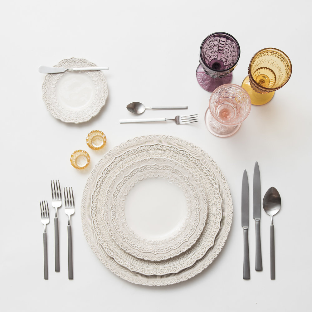 RENT: Lace Chargers/Dinnerware in White + Axel Flatware in Matte Silver + Purple/Amber/Pink Vintage Goblets + Amber Crystal Salt Cellars