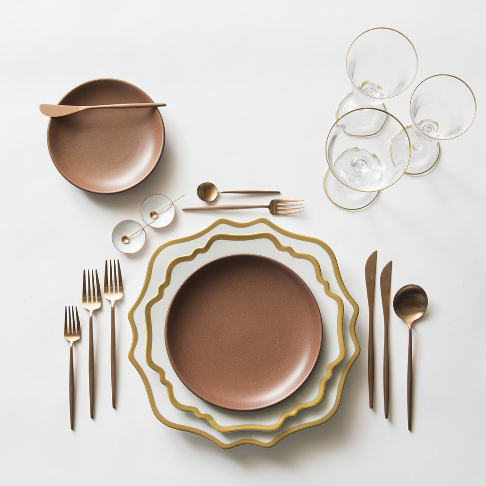 RENT: Anna Weatherley Chargers/Dinnerware in White/Gold + Heath Ceramics in Redwood + Moon Flatware in Brushed Rose Gold + Chloe 24k Gold Rimmed Stemware + White Enamel Salt Cellars + Tiny Gold/Copper Spoons   SHOP: Anna Weatherley Chargers/Dinnerware in White/Gold + Moon Flatware in Brushed Rose Gold + Chloe 24k Gold Rimmed Stemware + White Enamel Salt Cellars
