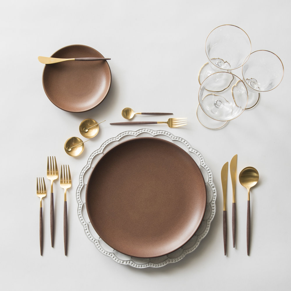 RENT: Signature Collection Chargers + Heath Ceramics in Redwood + Goa Flatware in Brushed 24k Gold/Wood + Chloe 24k Gold Rimmed Stemware + 14k Gold Salt Cellars + Tiny Gold Spoons   SHOP: Goa Flatware in Brushed 24k Gold/Wood + Chloe 24k Gold Rimmed Stemware + 14k Gold Salt Cellars + Tiny Gold Spoons
