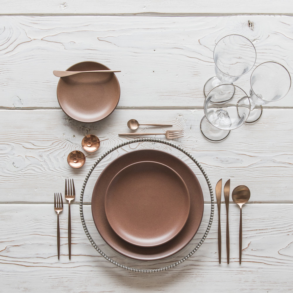 RENT: Pay é Glass Chargers in Pewter + Heath Ceramics in Redwood + Moon Flatware in Brushed Rose Gold + Chloe 24k Gold Rimmed Stemware + Copper Salt Cellars + Tiny Copper Spoons    SHOP:  Moon Flatware in Brushed Rose Gold + Chloe 24k Gold Rimmed Stemware + Copper Salt Cellars + Tiny Copper Spoons