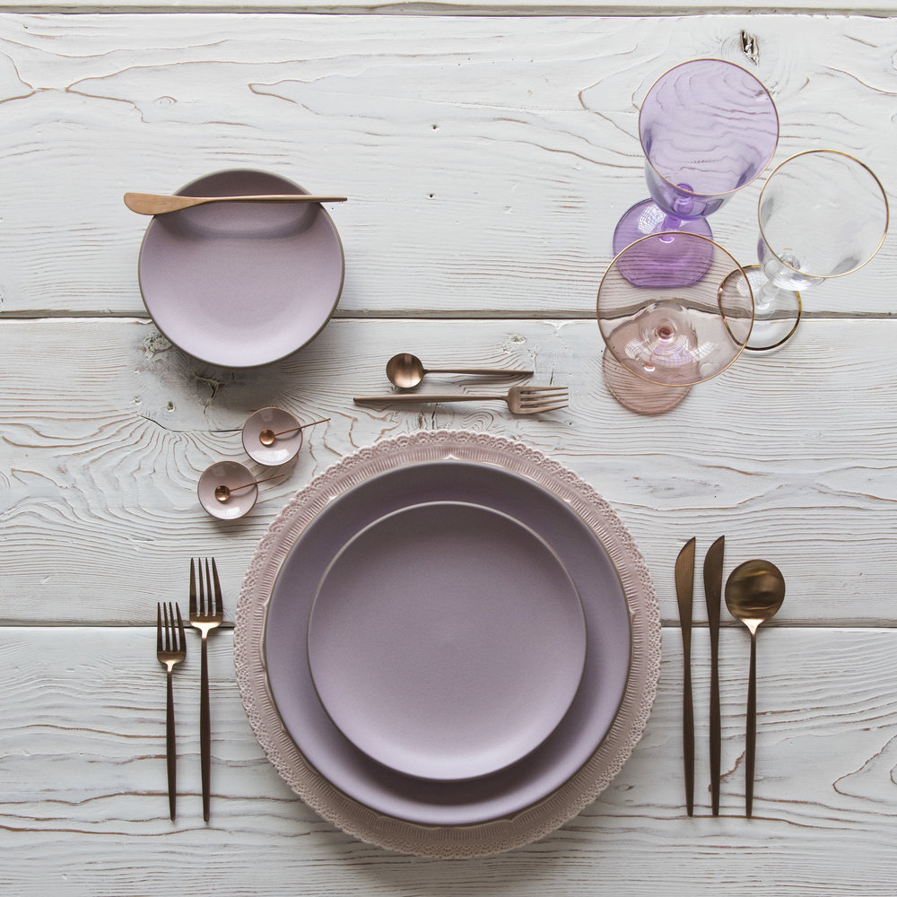 RENT: Lace Chargers in Blush + Custom Heath Ceramics in Wildflower + Moon Flatware in Brushed Rose Gold + Chloe 24k Gold Rimmed Stemware + Chloe 24k Gold Rimmed Goblet in Lilac + Bella 24k Gold Rimmed Stemware in Blush + Pink Enamel Salt Cellars + Tiny Copper Spoons   SHOP: Moon Flatware in Brushed Rose Gold + Chloe 24k Gold Rimmed Stemware + Bella 24k Gold Rimmed Stemware in Blush + Pink Enamel Salt Cellars + Tiny Copper Spoons
