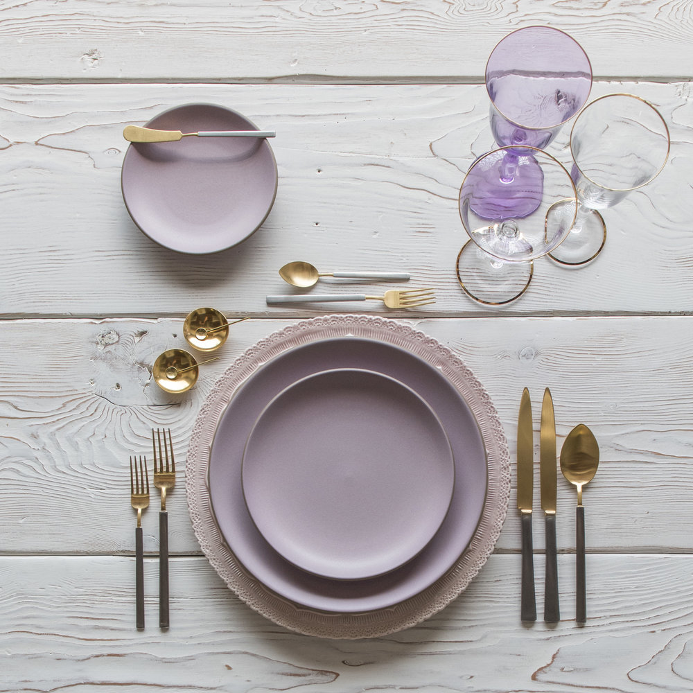 RENT: Lace Chargers in Blush + Custom Heath Ceramics in Wildflower + Axel Flatware in Matte 24k Gold/Silver + Chloe 24k Gold Rimmed Stemware + Chloe 24k Gold Rimmed Goblet in Lilac + 14k Gold Salt Cellars + Tiny Gold Spoons   SHOP: Chloe 24k Gold Rimmed Stemware + 14k Gold Salt Cellars + Tiny Gold Spoons