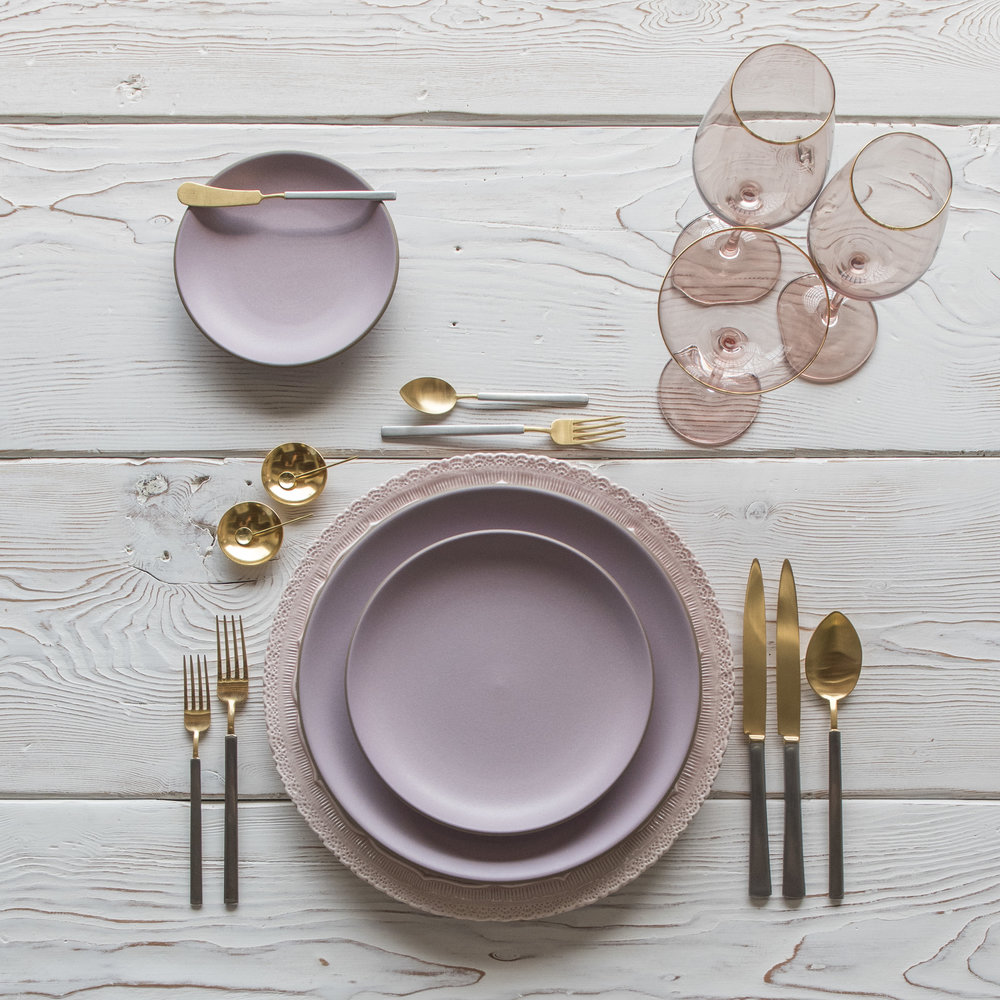 RENT: Lace Chargers in Blush + Custom Heath Ceramics in Wildflower + Axel Flatware in Matte 24k Gold/Silver + Bella 24k Gold Rimmed Stemware in Blush + 14k Gold Salt Cellars + Tiny Gold Spoons   SHOP: Bella 24k Gold Rimmed Stemware in Blush + 14k Gold Salt Cellars + Tiny Gold Spoons
