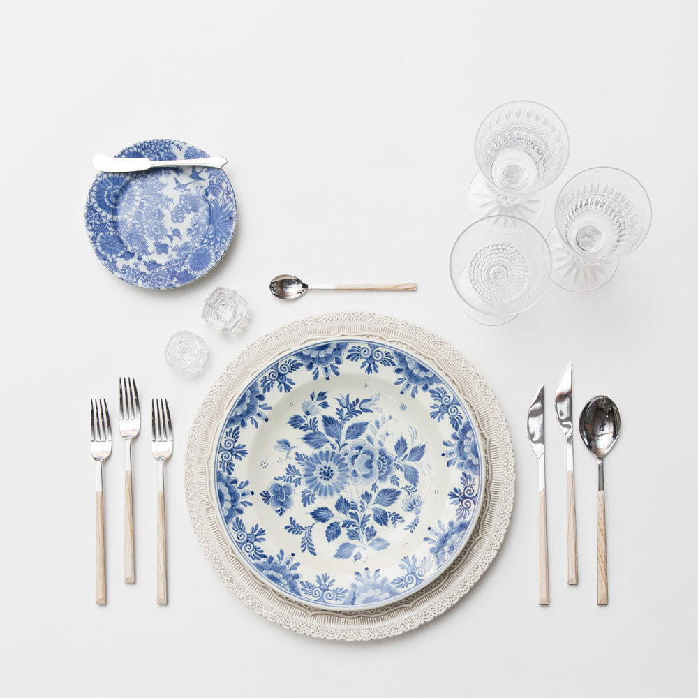 RENT: Lace Chargers in White + Blue Garden Collection Vintage China + Danish Flatware in Birch + Czech Crystal Stemware + Antique Crystal Salt Cellars