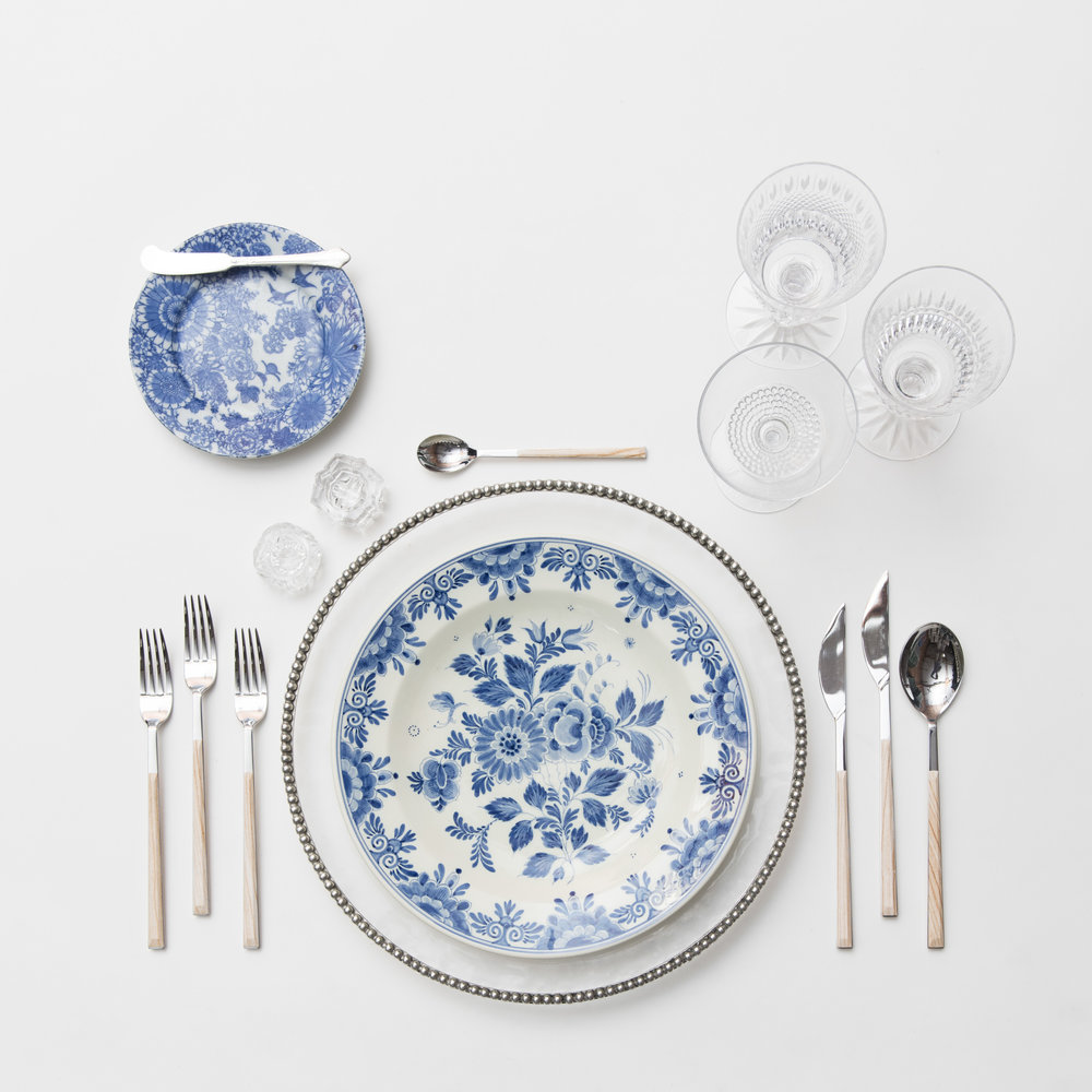 RENT: Pav é  Chargers in Pewter + Blue Garden Collection Vintage China + Danish Flatware in Birch + Czech Crystal Stemware + Antique Crystal Salt Cellars