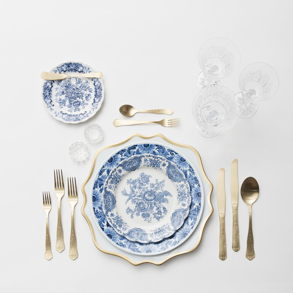 RENT: Anna Weatherley Chargers in White/Gold + Blue Garden Collection Vintage China + Chateau Flatware in Matte Gold + Czech Crystal Stemware + Antique Crystal Salt Cellars   SHOP: Anna Weatherley Chargers in White/Gold