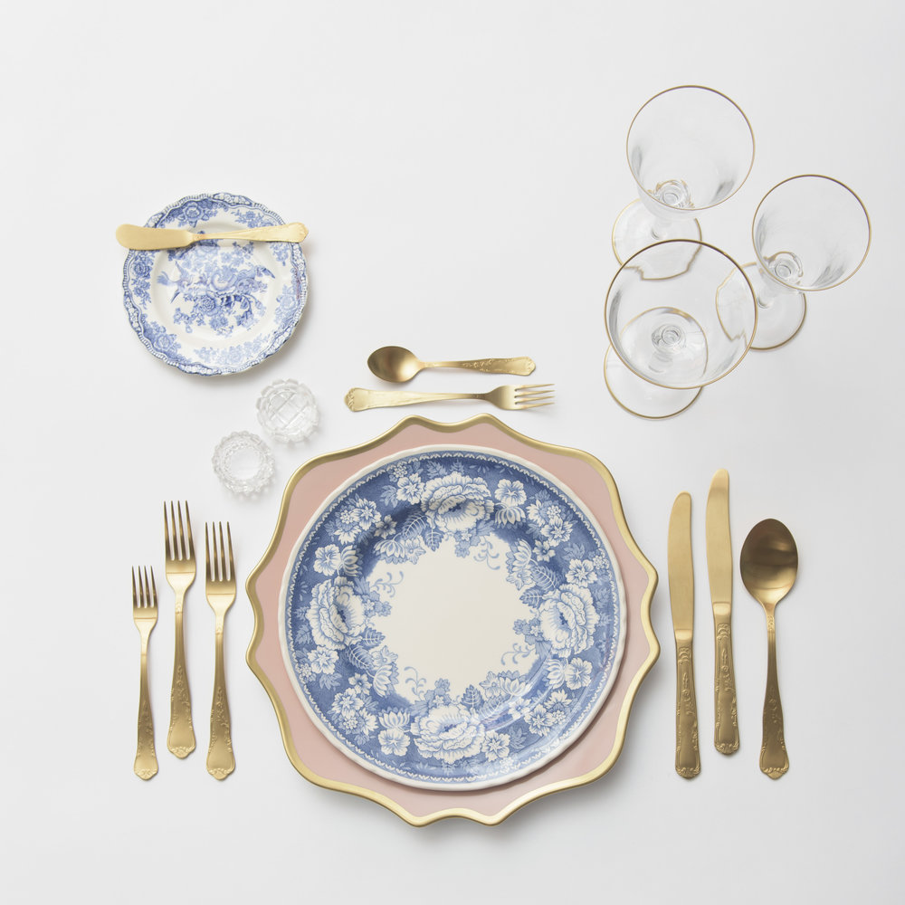 RENT: Anna Weatherley Chargers in Desert Rose/Gold + Blue Garden Collection Vintage China + Chateau Flatware in Matte Gold + Chloe 24k Gold Rimmed Stemware + Antique Crystal Salt Cellars   SHOP: Chloe 24k Gold Rimmed Stemware