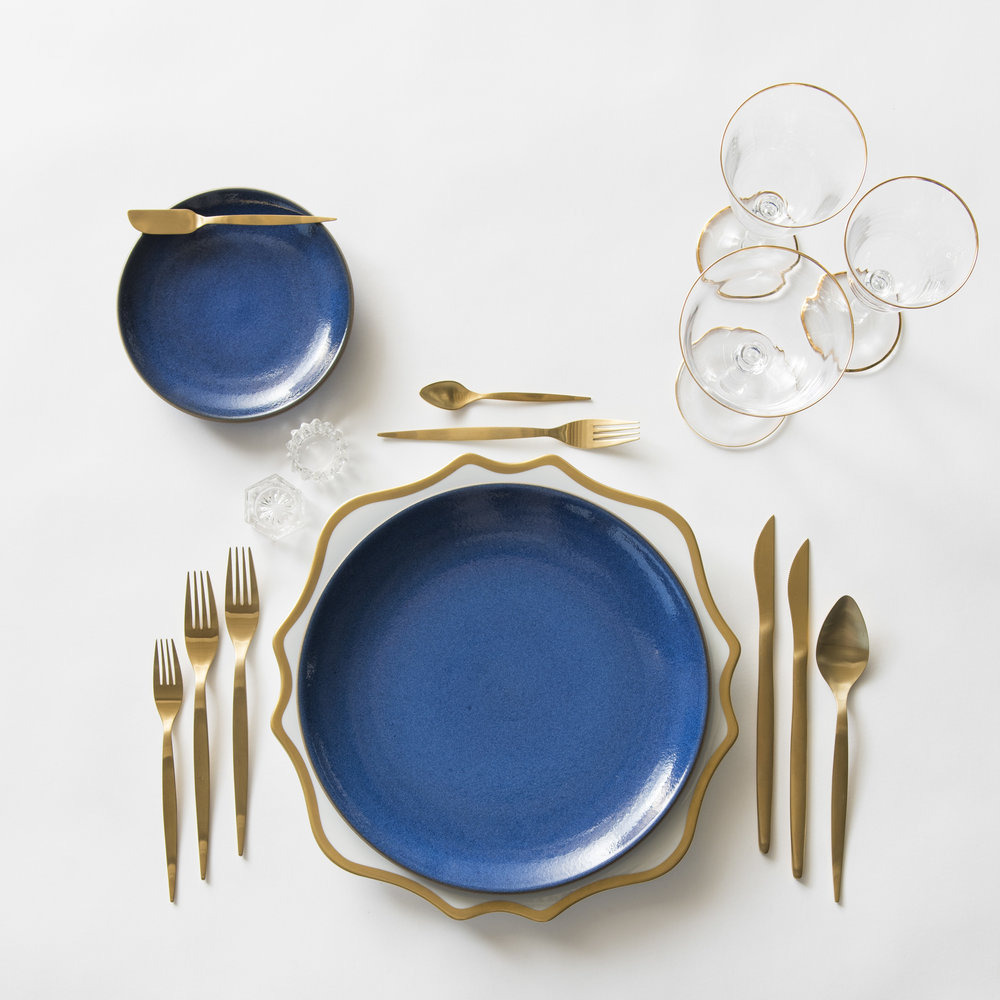 RENT: Anna Weatherley Chargers in White/Gold + Heath Ceramics in Moonstone + Celeste Flatware in Matte Gold + Chloe 24k Gold Rimmed Stemware + Antique Crystal Salt Cellars   SHOP: Anna Weatherley Chargers in White/Gold + Chloe 24k Gold Rimmed Stemware