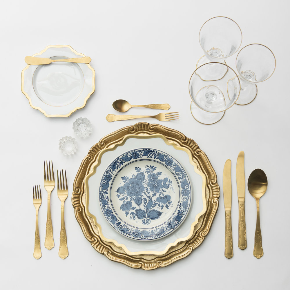 RENT: Florentine Chargers in Gold + Anna Weatherley Dinnerware in White/Gold + Blue Garden Collection Vintage China + Chateau Flatware in Matte Gold + Chloe 24k Gold Rimmed Stemware + Antique Crystal Salt Cellars   SHOP: Florentine Chargers in White/Gold + Anna Weatherley Dinnerware in White/Gold + Chloe 24k Gold Rimmed Stemware