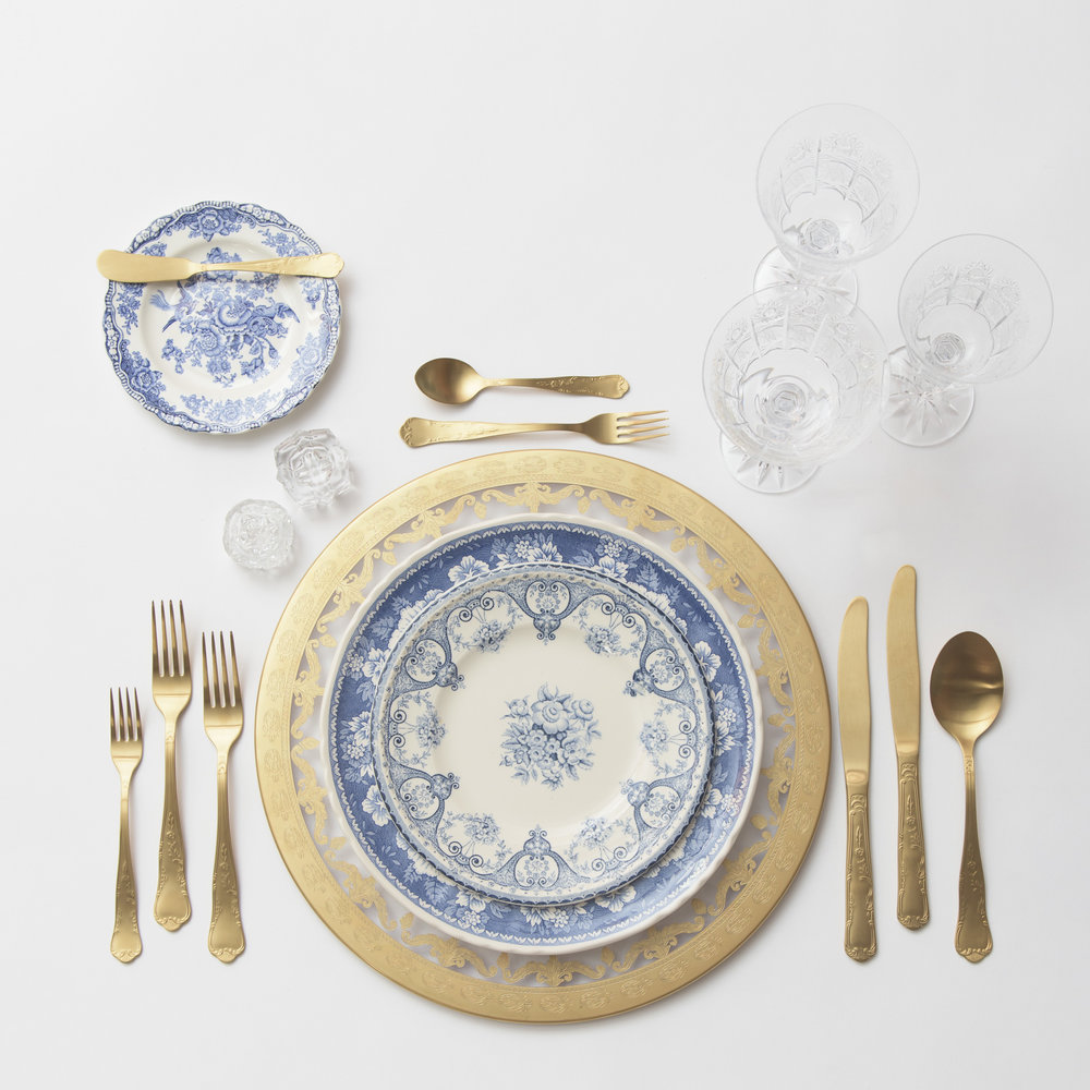 RENT: Versailles Glass Chargers in 24k Gold + Blue Garden Collection Vintage China + Chateau Flatware in Matte Gold + Czech Crystal Stemware + Antique Crystal Salt Cellars