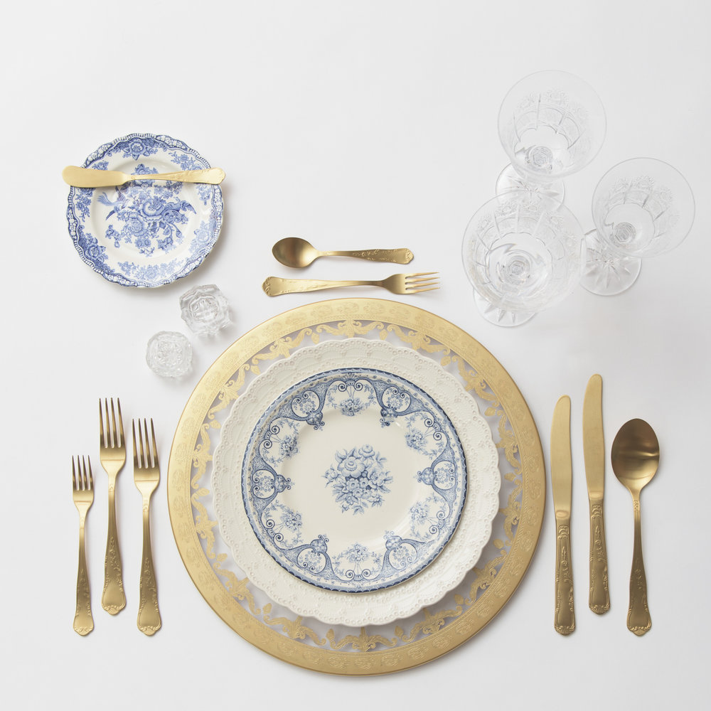RENT: Versailles Glass Chargers in 24k Gold + White Collection Vintage China + Blue Garden Collection Vintage China + Chateau Flatware in Matte Gold + Czech Crystal Stemware + Antique Crystal Salt Cellars