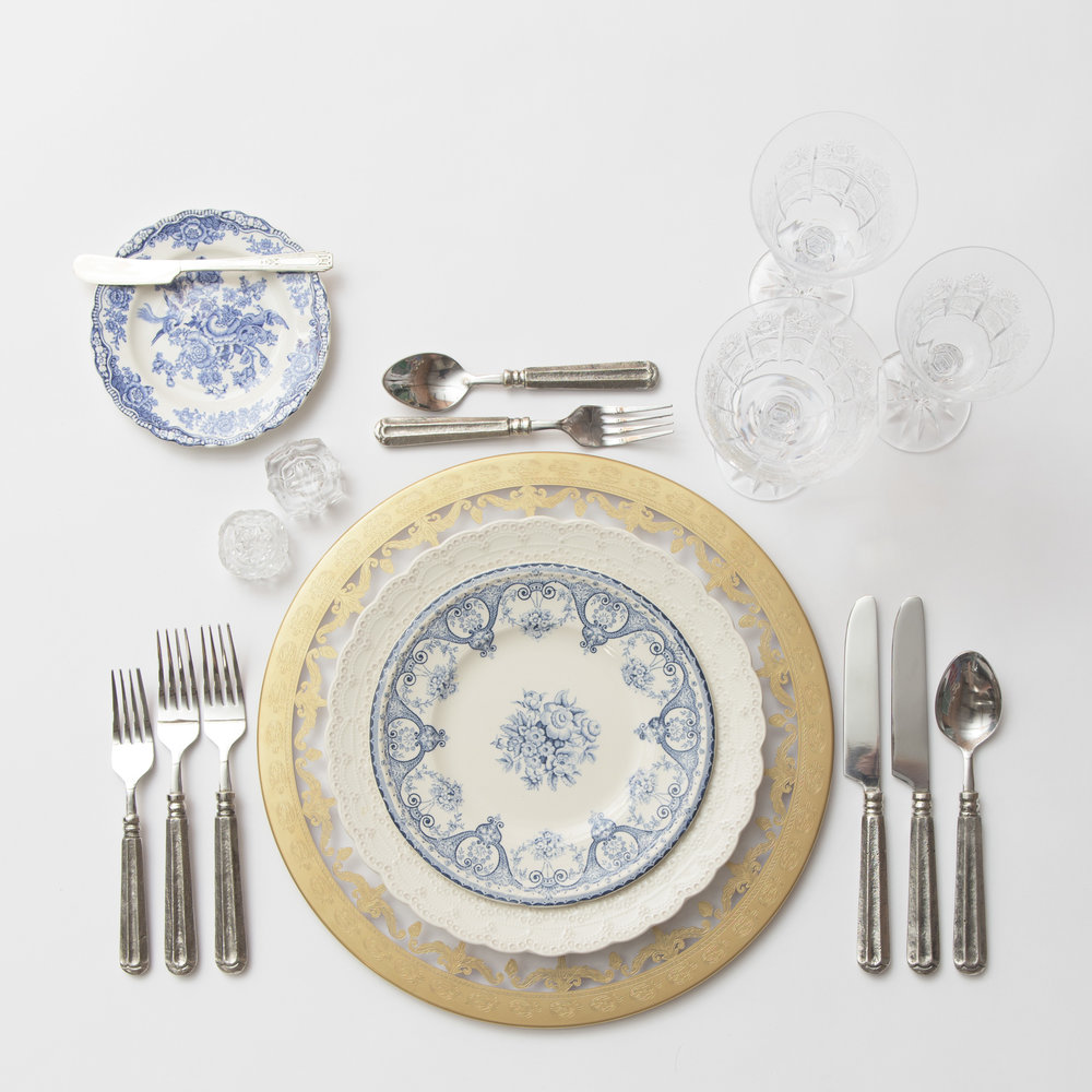 RENT: Versailles Glass Chargers in 24k Gold + White Collection Vintage China + Blue Garden Collection Vintage China + Tuscan Flatware in Pewter + Czech Crystal Stemware + Antique Crystal Salt Cellars
