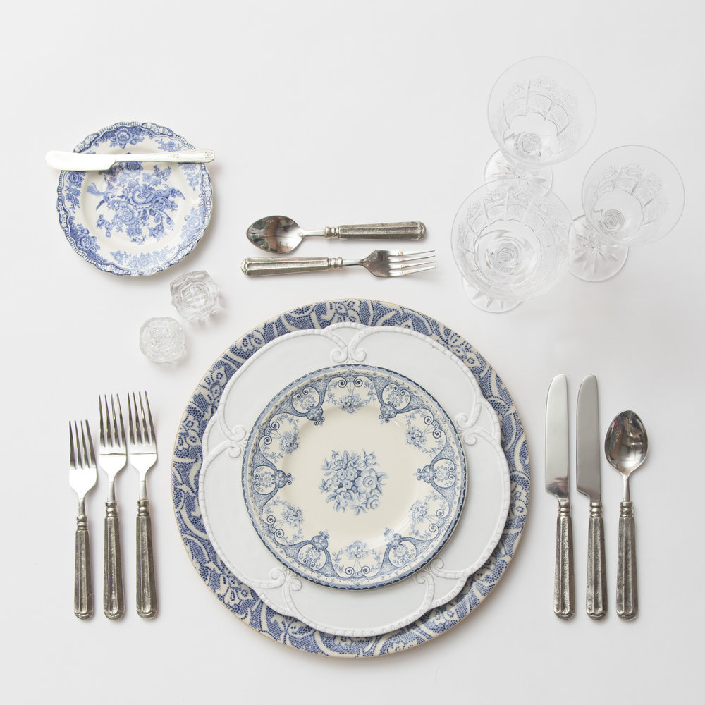 RENT: Blue Fleur de Lis Chargers + Signature Collection Dinnerware + Blue Garden Collection Vintage China + Tuscan Flatware in Pewter + Czech Crystal Stemware + Antique Crystal Salt Cellars