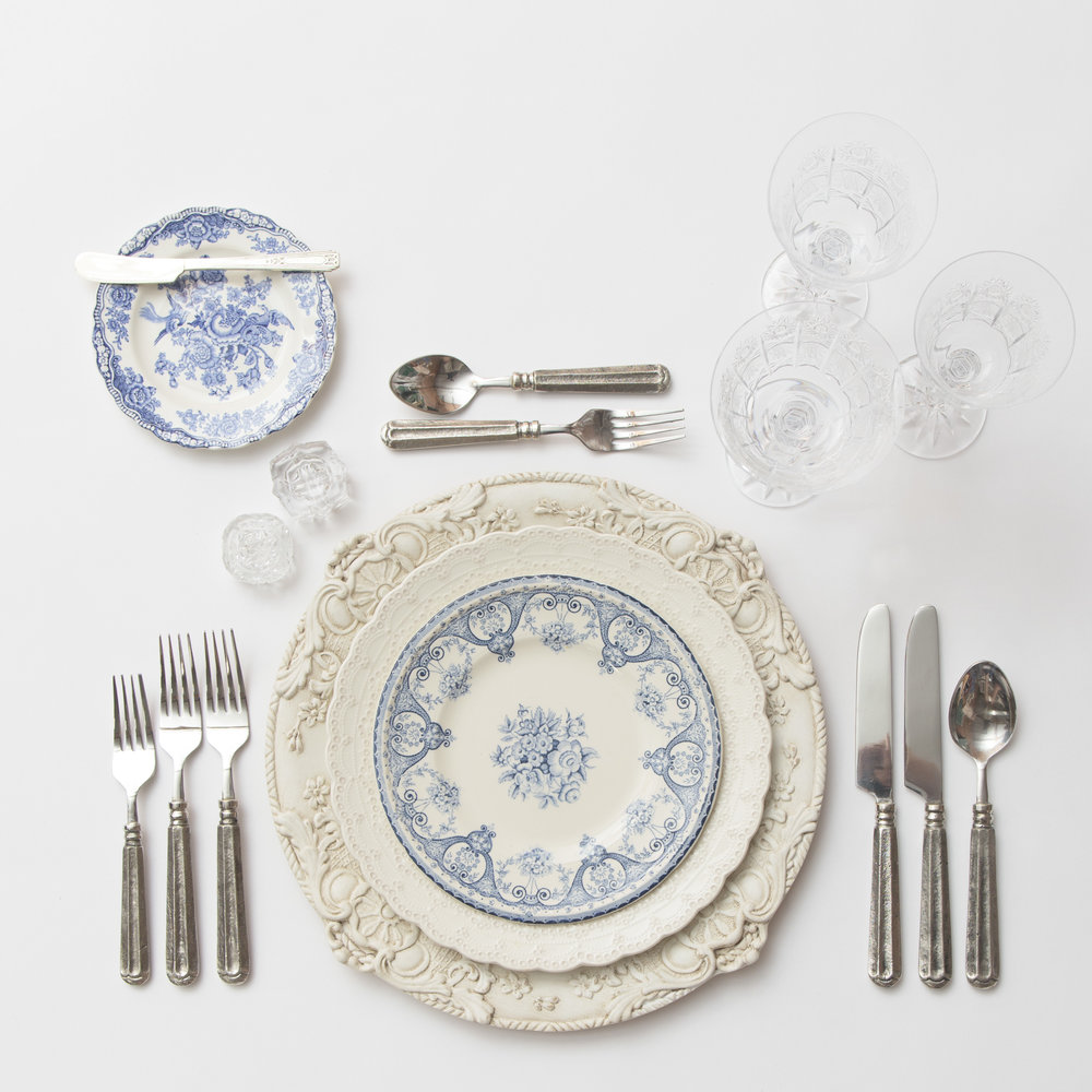 RENT: Verona Chargers in Antique White + White Collection Vintage China + Blue Garden Collection Vintage China + Tuscan Flatware in Pewter + Czech Crystal Stemware + Antique Crystal Salt Cellars  SHOP: Verona Chargers in Antique White