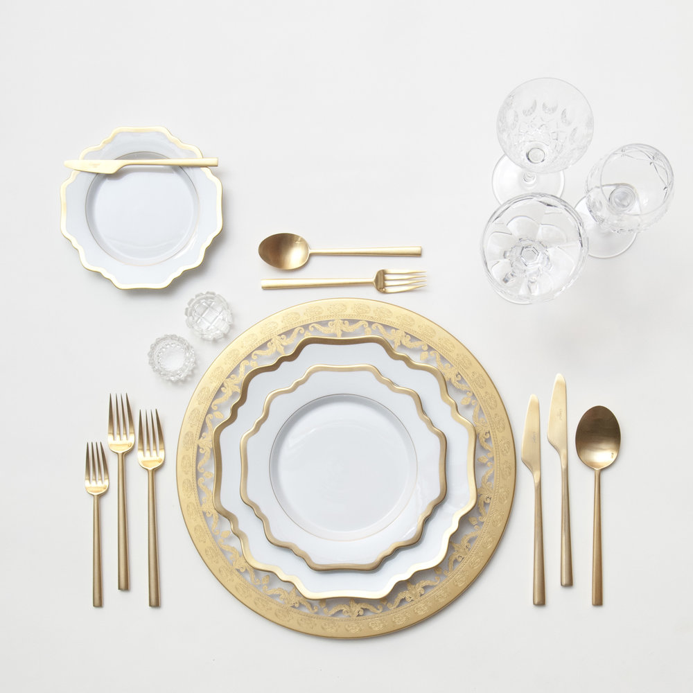 RENT: Versailles Glass Chargers in 24k Gold + Anna Weatherley Dinnerware in White/Gold + Rondo Flatware in Brushed 24k Gold + Vintage Cut Crystal Goblets + Vintage Champagne Coupes + Antique Crystal Salt Cellars  SHOP: Anna Weatherley Dinnerware in White/Gold + Rondo Flatware in Brushed 24k Gold