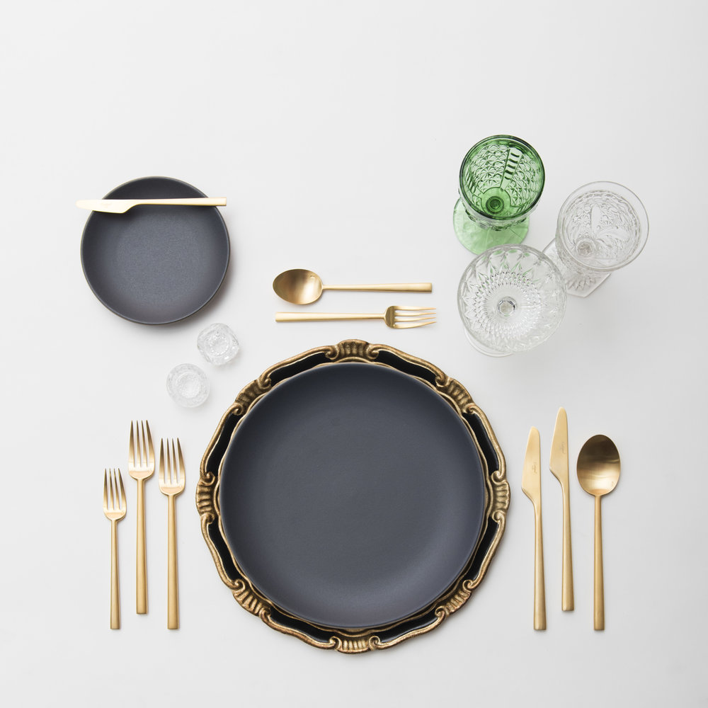 RENT: Florentine Chargers in Black/Gold + Heath Ceramics in Indigo/Slate + Rondo Flatware in Brushed 24k Gold + Green Vintage Goblets + Early American Pressed Glass Goblets + Vintage Champagne Coupes + Antique Crystal Salt Cellars  SHOP: Florentine Chargers in Black/Gold + Rondo Flatware in Brushed 24k Gold