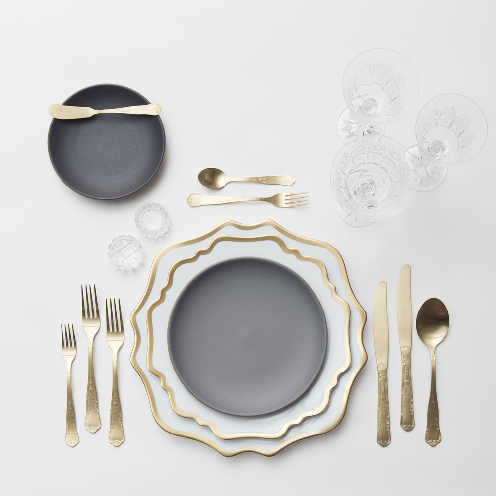 RENT: Anna Weatherley Chargers/Dinnerware in White/Gold + Heath Ceramics in Indigo/Slate + Chateau Flatware in Matte Gold + Czech Crystal Stemware + Antique Crystal Salt Cellars   SHOP: Anna Weatherley Chargers/Dinnerware in White/Gold