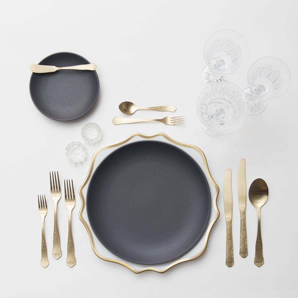 RENT: Anna Weatherley Chargers in White/Gold + Heath Ceramics in Indigo/Slate + Chateau Flatware in Matte Gold + Czech Crystal Stemware + Antique Crystal Salt Cellars   SHOP: Anna Weatherley Chargers in White/Gold