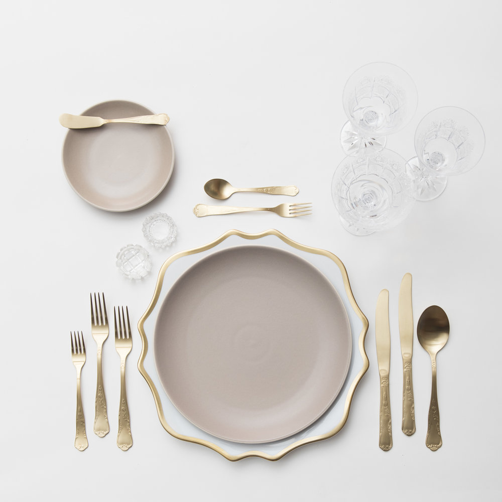 RENT: Anna Weatherley Chargers in White/Gold + Heath Ceramics in French Grey + Chateau Flatware in Matte Gold + Czech Crystal Stemware + Antique Crystal Salt Cellars  SHOP: Anna Weatherley Chargers in White/Gold